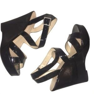Nine West Shoes Black Wedges Patent Faux Leather